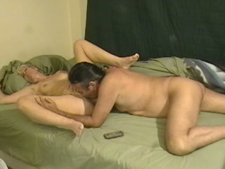 Mature uncle fucks horny grey haired granny in amateur clip
