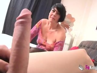 Short-haired MILF makes love with younger guy at the casting
