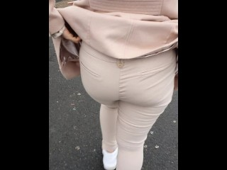 Step mom showing ass in supermarket to step son on hidden camera