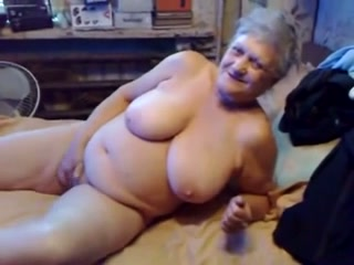 75 year old granny with big boobs masturbates for me
