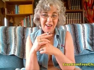 Super-hot grannie with brief Curly Hair and Glasses has youthful vulva