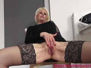 Grandma needs to cum fast as she fingers her wet pussy hard