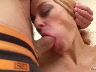 Two Young Boys Seduce Skinny Mature to Anal and DP Fuck