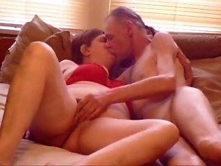 Skinny grandpa feeding and fucking his housewife