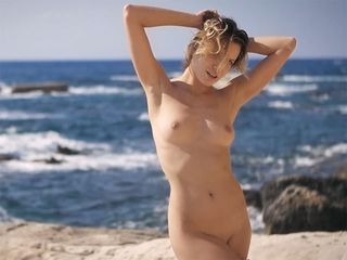 Puny light-haired hair woman mommy I´d like to smash striptease and solo dancing outdoor