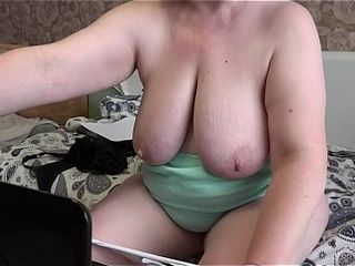 Mother in front of the cam tempts a stranger and jerks with him. Mature plus-size disrobing, wiggling good-sized mounds, fat culo, finger-tickling fur