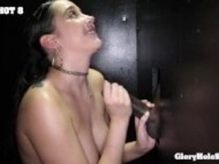 """Cute girl next door sucks all the cocks in the gloryhole"""