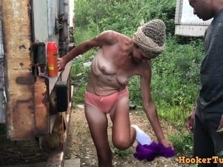 Granny Crackhead sucks and fucks for money