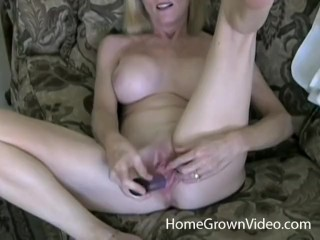 Mature platinum-blonde first-timer likes junior man-meat