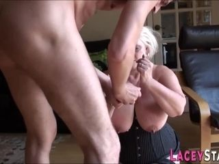 Deep throating brit grandmother gets banged