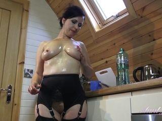 Oily Wank in Stockings - Hot MILF Solo