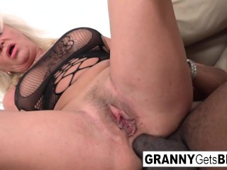 Blonde Granny Loves Taking Big Black Cock
