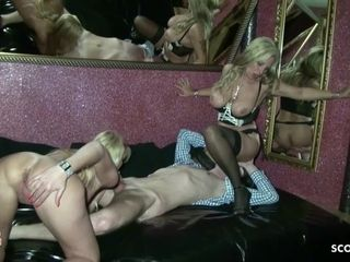 German Mom and Aunt Seduce Young Guy to Fuck First Threesome