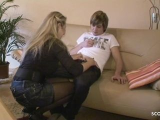 German Stepmom Teach Young Virgin Boy How to Fuck when alone