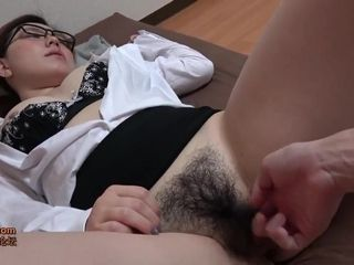 Asian office MILF with hairy pussy - porn clip