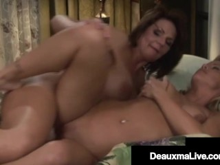 Southern Cougar Deauxma strap on dildo romps light-haired cougar gf