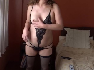 MY LATIN WIFE, 58 YEARS OLD, EXHIBITS IN LINGERIE, HAIRY PUSSY, BIG ASS, EROTIC