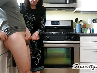 Wife handjob the kitchen
