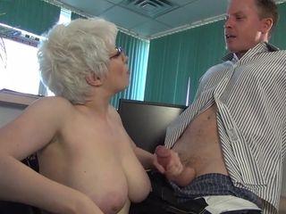 Grandmother faps Off huge fuck-stick