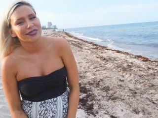 Mommy Outdoor Solo On The Public Beach