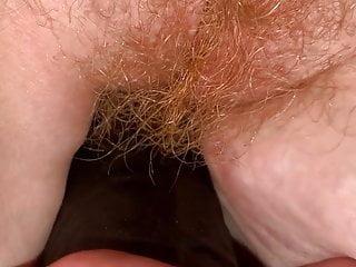Black dildo fucking hairy pussy