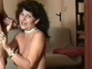 Horny mature woman in nylon stockings sucking my dick deepthroat