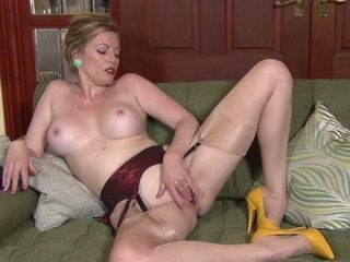 Mature With pantyhose And Yellow High-heels