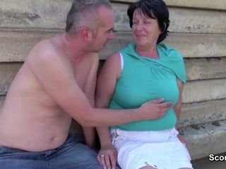 Aged granny get copulated Outdoor by Grandson