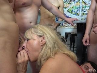 Czech Granny Koko Blonde in gang-orgy kitchen sex