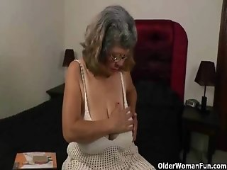 Silky nylon get grannies Brenda and Rosaly in the mood