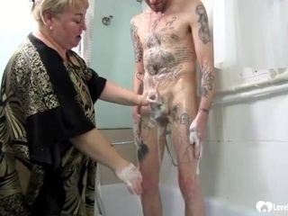 'Blonde stepmom jerks and sucks off her stepson'