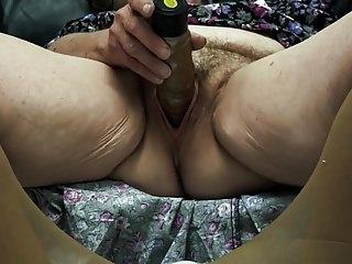 Ancient flimsy granny enjoys cum