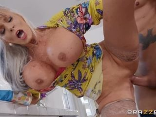 Sally D'Angelo pummeled by her daughter's boyfriend in the kitchen
