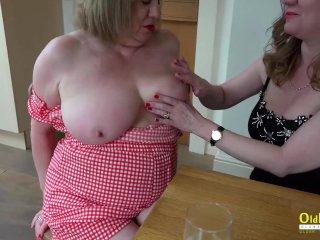 OldNannY Two British Mature Lesbians Titplay