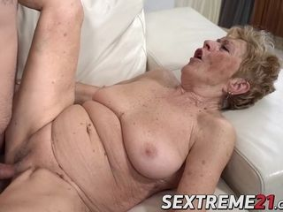 Super-steamy grandmother drilled pouch deep by much junior dude