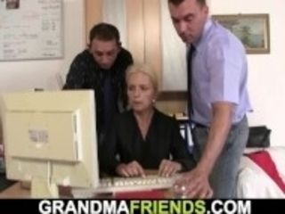 """""""Skinny old blonde swallows two cocks for work"""""""