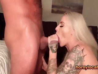 Blonde MILF with Big Tits Sucking Cock