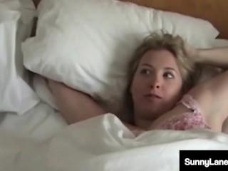 'Sleepy Slut Sunny Lane Gets Her Tight Twat Eaten By Busty Milf Vicky Vette!'