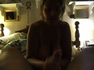 Juggy blonde mom shows her nice cock-sucking skills to me