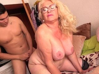 Spanish Granny Gets Had Intercourse By 18Yo Boy - licking hoochie-coochie