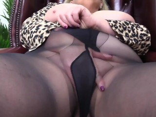 Nasty Big Tit Step Mom takes a little time for a finger fuck in Filthy Pantyhose and Leather Boots