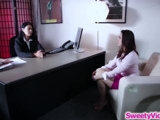 Busty babe asslicked by her lesbian boss