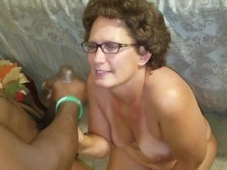 Bespectacled Bigbutt Cougar's Homemade interracial