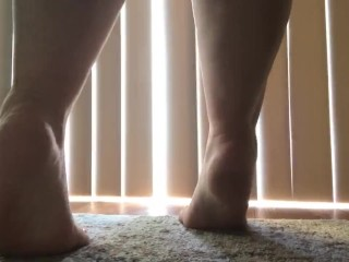 Cute tiny milf feet dance in front of window naked yellow polish