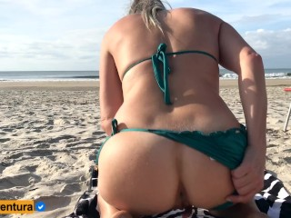 Extraordinary risk with ass-fuck intercourse in public on the beach People near! Real fledgling