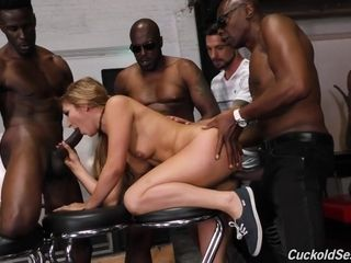 Amazing interracial gangbang with horny blonde and black studs