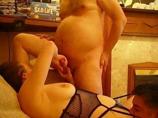 Lewd wife in black corset gets her twat licked after wanking my buddy