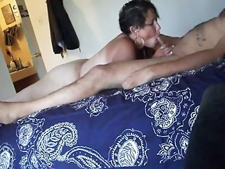 Bowing above a stiff cock chubby big racked housewife gave a nice blowjob