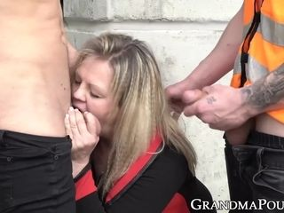 Seductive lingerie granny mouth filled with hot sticky cum