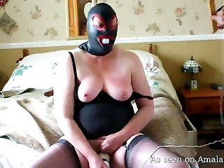 Busty plump wife in spandex mask gets her boobies smashed in BDSM mode